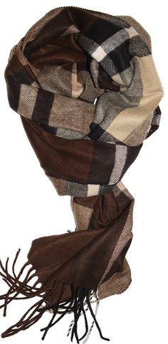 SethRoberts-Plush Plaid Classic Cashmere Feel Men's Winter Scarf in Dark Brown, Black, Tan at Amazon Men's Clothing store: