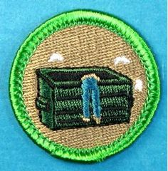 """Dumpster Diving Merit Badge - Boy Scout Store - Search site for other """"spoof"""" merit badges/could be used as patches for GS Boy Scout Patches, Girl Scout Badges, Dumpster Diving, Pin And Patches, Jacket Patches, Merit Badge, Fabric Patch, Style Challenge, Eagle Scout"""
