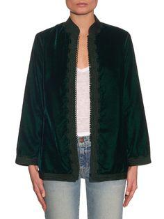 Muzungu Sisters Dalia Mandarin-collar velvet jacket