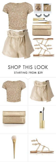 """You're golden"" by lisamichele-cdxci ❤ liked on Polyvore featuring Alice + Olivia, 3.1 Phillip Lim, Nancy Gonzalez, Kevyn Aucoin and Prada"