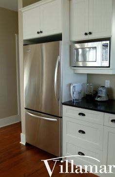 Like The Idea Of Adding Storage Above Fridge And Moving Microwave To The Side Of