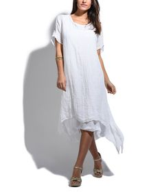 Look at this #zulilyfind! White Layered Linen Sidetail Dress #zulilyfinds
