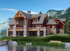 Five Timber Frame Mountain Homes You'll Dream About - Woodhouse The Timber Frame Company Mountain homes are amongst the top design choices for today's new home buyers. Here are our top 5 timber frame Mountain Homes. Colorado Mountain Homes, Mountain Dream Homes, Mountain Home Exterior, Montana Homes, Mountain House Plans, Colorado Homes, Montana Ranch, Timber Frame Home Plans, Timber Frame Homes