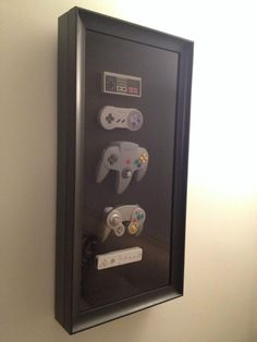 My girlfriend secretly bought a bunch of controllers and made this for me for my birthday! My girlfriend secretly bought a bunch of controllers and [. Cute Gifts, Diy Gifts, Deco Gamer, Boyfriend Gifts, Boyfriend Surprises, Present For Girlfriend, Shadow Box, Diy And Crafts, Geek Stuff