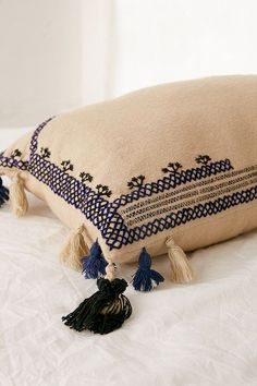 Slide View: 1: Embroidered Wool Lumbar Pillow