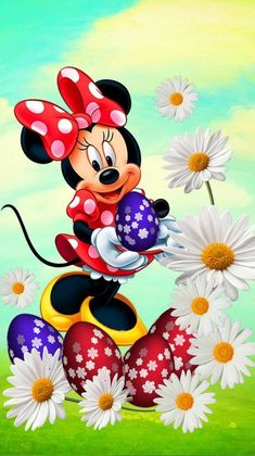 Minnie with flowers! Disney Mickey Mouse, Mickey Mouse Kunst, Mickey Mouse E Amigos, Minnie Mouse Cartoons, Mickey Mouse And Friends, Cartoon Wallpaper, Happy Easter Wallpaper, Mickey Mouse Wallpaper Iphone, Disney Wallpaper