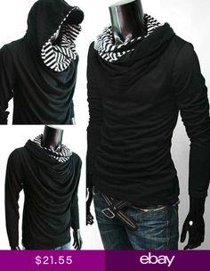 7fdf488604994 Premium Black Hoodie Cloak Cowl neck Long sleeve Shirt top men tee S M L XL  NEW Stylish