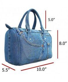 Buy Classic Blue Denim Jean Doctor Style Women Handbag (LL and More Discount Women Top Handle Bags Sale up to off. Denim Tote Bags, Denim Purse, Blue Denim Jeans, Denim Bags From Jeans, Recycle Jeans, Diy Jeans, Fabric Bags, Handmade Bags, Purses And Handbags