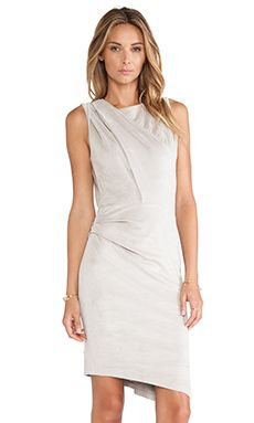 Halston Heritage Ultrasuede Dress in Stone Grey