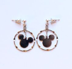 Disney Sterling Silver Mickey Mouse Dangle or Drop Earrings by paststore on Etsy
