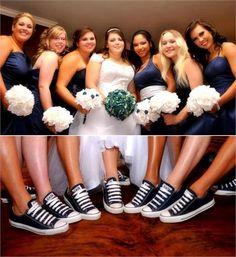 Bride & bridesmaids with their navy Chucks, wedding Chuck Taylor Converse