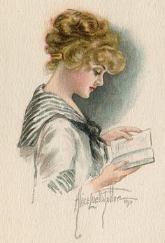 girl reading, from Postallove