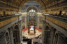 St. Peter's Basilica , ln the Vatican, site of the Grand Mass prior to the begining of the Conclave , March 12 2013.  photo from Vatican newspaper L'osservatore Romano ( AP photo/Andrew Medichini )