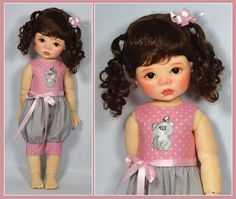 Pink and Gray Spring Romper for Saffi by Meadowdolls by Maggie & Kate Create