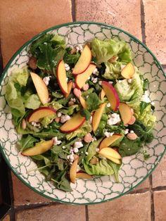 Peach, basil and goat cheese salad ... Yum!!