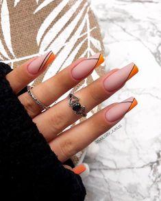 Acrylic Nails Coffin Short, Simple Acrylic Nails, Glam Nails, Dope Nails, Long Nail Designs, Striped Nail Designs, Cute Summer Nail Designs, Romantic Nails, Striped Nails