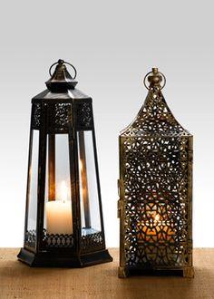 16in antique gold iron lantern
