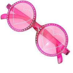 Chicwish Studded Heart Round Party Sunglasses in Hot Pink ($16) ❤ liked on Polyvore featuring accessories, eyewear, sunglasses, glasses, chicwish, fillers, round sunglasses, round glasses, plastic glasses e heart sunglasses