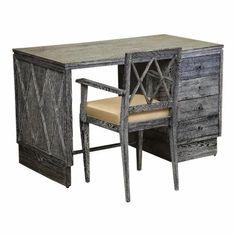 French Art Deco Cerused Oak Desk and Chair Set For Sale French Desk, French Grey, Desk And Chair Set, Desk Set, Glass Dinning Table, Curved Desk, Vintage Writing Desk, Art Deco Desk, Unique Desks
