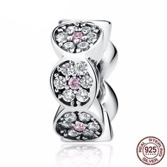 New Arrival 925 Sterling Silver Clearly CZ Pink Silver Beads Charms Fit Pandora Bracelet Women Fashion Jewelry Sterling Silver Flowers, Sterling Silver Bracelets, Fitness Bracelet, Jewelry Companies, Silver Charms, Silver Beads, Pendant Jewelry, Jewelry Gifts, Fashion Jewelry