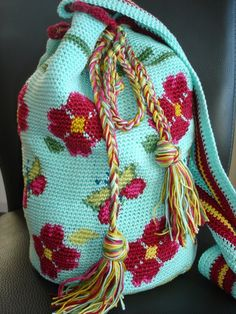 floral crochet knapsack #advanced #pattern