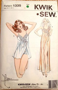 Kwik Sew 1335 1980s Misses Lacy Goddess NIGHTGOWN and PANTIES womens vintage sewing pattern by mbchills