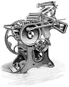 old print machine - this was identified as plate printing - was manually operated by most standards - some had electric motor.