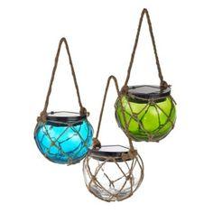 Solar-Powered Glass Hanging Buoy Lantern Light - BedBathandBeyond.com