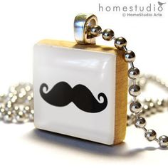 MUSTACHE (Black) : a jewelry pendant charm made from a Scrabble Game Tile game piece. $9.00, via Etsy.