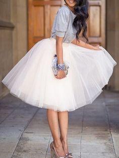 73efd216b1 White Plain Draped Grenadine New Fashion Latest Women Puffy Tulle High  Waisted Knee Length Adorable Tutu