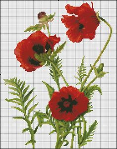 red poppy Cross Stitch Love, Cross Stitch Borders, Cross Stitch Flowers, Cross Stitch Patterns, Botanical Flowers, Knitting Charts, Red Poppies, Cross Stitch Embroidery, Needlepoint