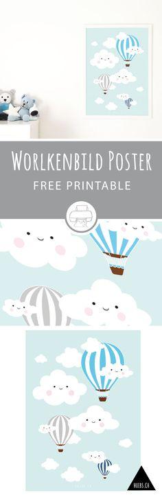 Free Printable - Wolkenbild mit Heißluftballons in Posterformat 50 cm x 70 cm für's Kinderzimmer