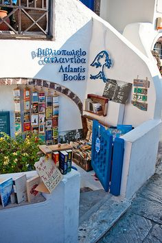 Atlantis Books in Santorini. Most beautiful location for a bookstore! Who wouldn't want to read a novel overlooking the Mediterranean sunset?