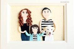Custom family portrait with dog - custom cartoon portrait - polymer clay portrait - personalized portrait - family sculpture { by NicomadeMe on Etsy }