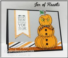 Here's the Halloween version of my stack of pumpkins using Jar of Haunts stamp set.  Created by Connie Babbert, www.inkspiredtreasures.com, Stampin' Up!, #stampinup