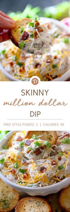 Skinny Million Dollar Dip - would use turkey bacon instead to lighten it even more! Cheese Dip Recipes, Ww Recipes, Skinny Recipes, Cooking Recipes, Cheese Dips, Jalapeno Dip, Jalapeno Poppers, Food Network, Appetizers For Party