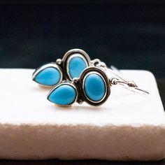 Your place to buy and sell all things handmade Small Earrings, Blue Earrings, Turquoise Earrings, Gemstone Earrings, Drop Earrings, Sterling Silver Dangle Earrings, Etsy Jewelry, Earrings Handmade, Dangles