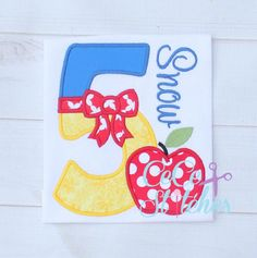 Apple Princess Number Set 1-9  Applique Design - pinned by pin4etsy.com