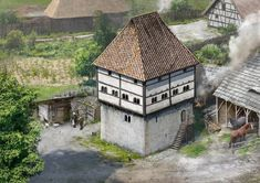 Medieval Houses, Medieval Castle, Historical Architecture, Interior Architecture, Medieval Drawings, Templer, Classical Antiquity, Fantasy Art Landscapes, Castle Ruins