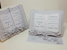 (Ref:D5) Easel card 18.5cm x 15cm. A wedding card using a silver wedding bookeasel download from the Clipart Fairy Wedding Anniversary Cards, Wedding Cards, Wedding Day, Hobbies And Crafts, Crafts To Make, Sympathy Cards, Greeting Cards, Crafters Companion Cards, Easels