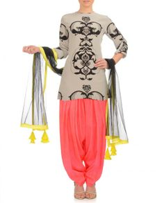 payal singh Light Gray Suit with Neon Patiala - Suits - Apparel