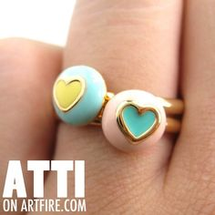 $8 TWO Adjustable Round Contrasting Heart Rings One in Blue and One Pink