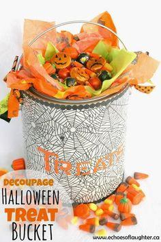 Decoupage Halloween Treat Bucket