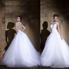 Wholesale Ball Gown Wedding Dresses - Buy 2014 Vintage Wedding Dresses Sweetheart Sexy Backless Ball Gown Chapel Train Beaded Lace White Bridal Gowns Hassan Mazeh W270, $159.2   DHgate