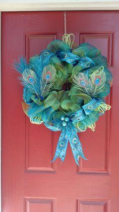 Deco Mesh Peacock Wreath, christmas Peacock Wreath