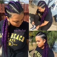 35 Purple Braids Hairstyles Purple braids are one of the many hairstyle trends that have become popular in recent years. Let's take a look at 35 stylish ways you can rock purple braids. Purple Braids, Black Girl Braids, Braids For Black Women, Girls Braids, Purple Hair, Ghana Braids Hairstyles, Braids Hairstyles Pictures, Hair Pictures, Braids Cornrows