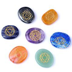 7 pcs Engraved Chakra Stone Palm Stone Crystal Reiki Healing Free Pouch EN0513SY