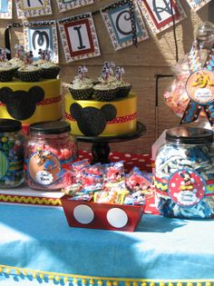 mickey mouse candy buffet Miller Brangers- Love the mickey buttons on the red container! Mickey E Minie, Fiesta Mickey Mouse, Mickey Mouse Bday, Mickey Mouse Clubhouse Birthday, Mickey Mouse Parties, Mickey Party, Mickey Mouse Birthday, Disney Parties, Mickey Head