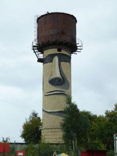 Global Street Art • Easter Island head by an unknown artist (help us...
