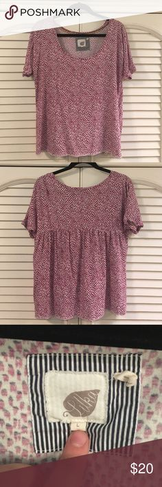 Anthropologie Soft Pink and White Top 60% cotton, 40% Modal super soft top from Anthro, great condition, super cute on! Anthropologie Tops Tees - Short Sleeve
